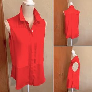 DKNYC sleeveless blouse button front soft coral